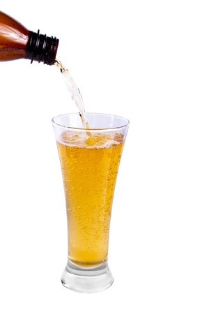 Pouring Beer into glass on white background