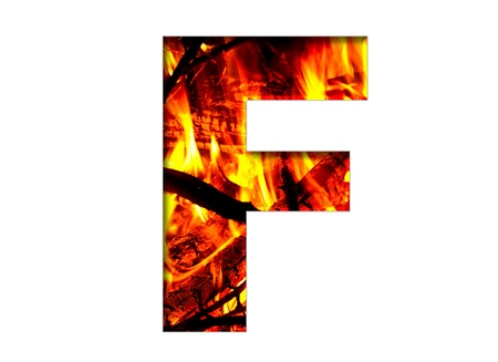 burning alphabet: bright flamy letter on the white background