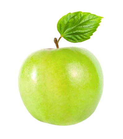 fresh green apple with green leaf