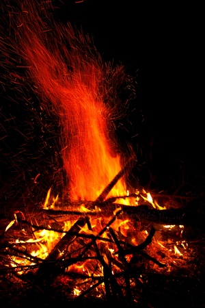 Close-up of fire and flames on a black background Stock Photo