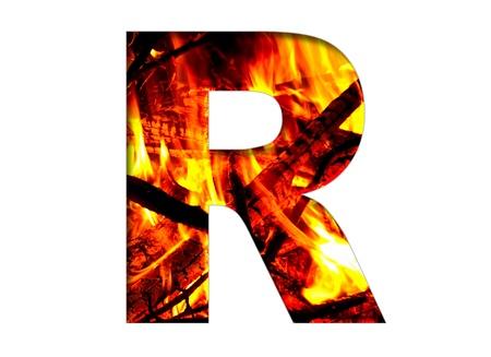 r image: lettera flamy luminosa sullo sfondo bianco
