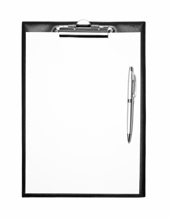 Blank clipboard with pen isolated on white photo