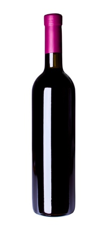 red wine bottle isolated on the white background photo