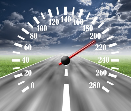 speedometer: strada strada con un fulmine