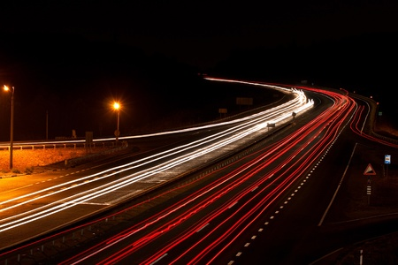 Long exposure photo of traffic on the move at dusk on the motorway photo
