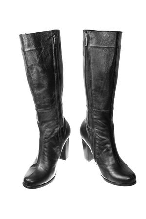 Pair of black female boots over white background photo