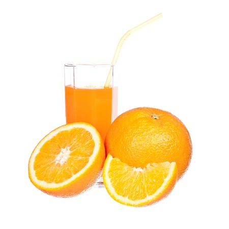 Orange juice and slices of orange isolated on white Stock Photo - 12205465