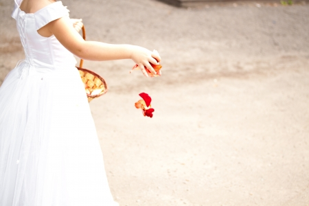 Girl holding rose petals at the wedding photo