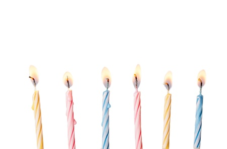 white candle: Birthday candles Stock Photo