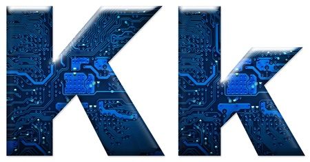 Digital letter K on the white background Stock Photo