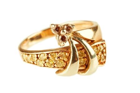 diamond rings: Gold ring Stock Photo