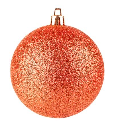 Red christmas ball on white background photo