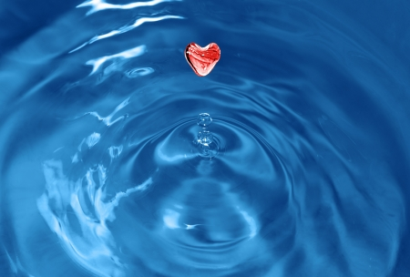 Water splash with drop in the form of heart photo