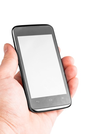 Modern mobile phone in hand isolated on white background Stock Photo - 17890715