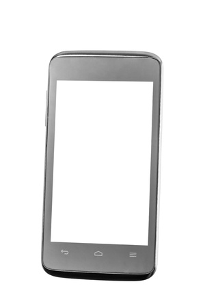 Mobile phone with blank screen isolated on white background photo