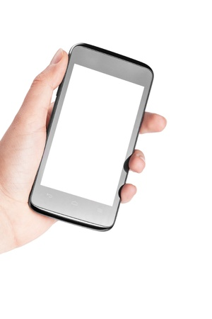Modern mobile phone in hand isolated on white background Stock Photo - 17890678