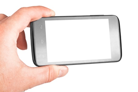 Modern mobile phone in hand isolated on white background Stock Photo - 17890709