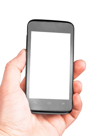Modern mobile phone in hand isolated on white background Stock Photo - 17890716