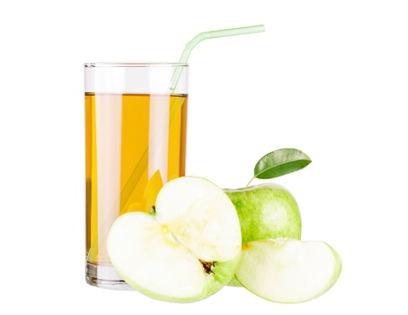 Apple juice and green apple isolated on white photo