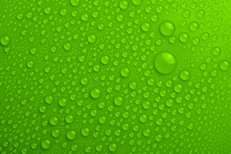 Gouttes d'eau sur fond vert