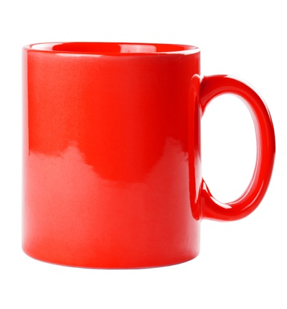 Red mug empty blank for coffee or tea isolated on white background Stock Photo - 17890215