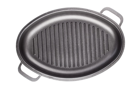 Black frying pan isolated on white background Stock Photo - 18678568