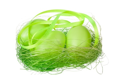 Green eggs in the nest Stock Photo - 18876795