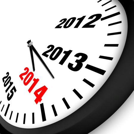 2014 New Year clock Stock Photo
