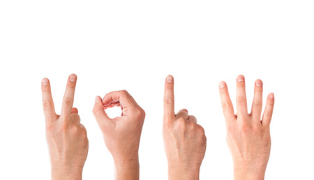Man Hands Forming Number 2014 On a White Background