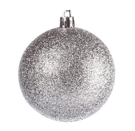 Silber matt Weihnachtskugel auf weißem Hintergrund Standard-Bild - 23790473