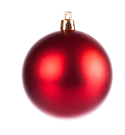 dull: Red dull christmas ball on white background