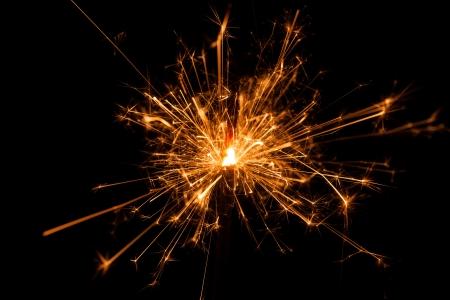 Christmas sparkler on black background. Bengal fire Stock Photo