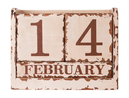 Vintage Valentines day calendar icon. 14 february  photo
