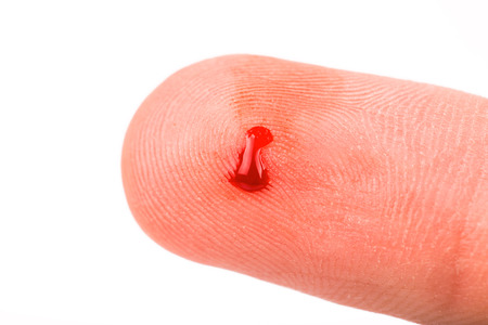 Finger with blood isolated  Stock Photo