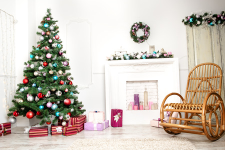 cosy: Christmas living room Stock Photo