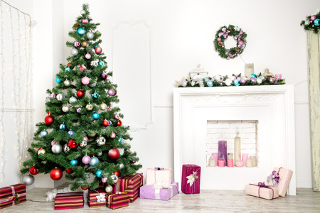 Woonkamer van Kerstmis Stockfoto