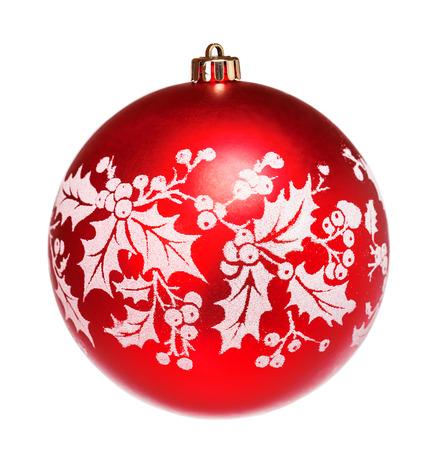 白地に赤の鈍いクリスマス ボール 写真素材