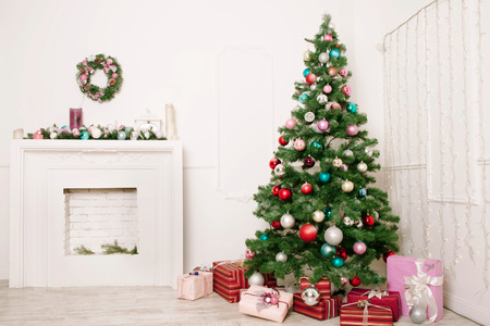 christmas stockings: Christmas living room Stock Photo