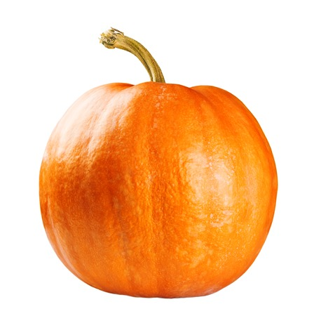 pumpkin patch: Fresh orange pumpkin isolated on white background Stock Photo