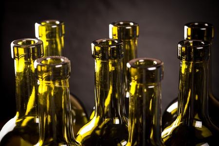 corked: Closeup of empty bottles of wine