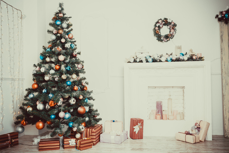 fireplace living room: Defocused background Living room with christmas tree