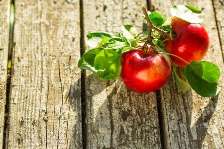 apfelbaum: Äpfel auf Holztisch über Sommer Hintergrund Bokeh