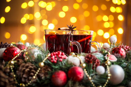 christmas spices: Christmas hot mulled wine with spices on a wooden table. The idea for creating greeting cards Stock Photo