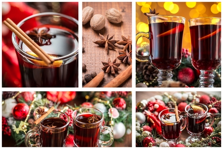 collage: Christmas collage with photos of spruce, champagne, mulled wine, orange, bokeh and decorations Stock Photo