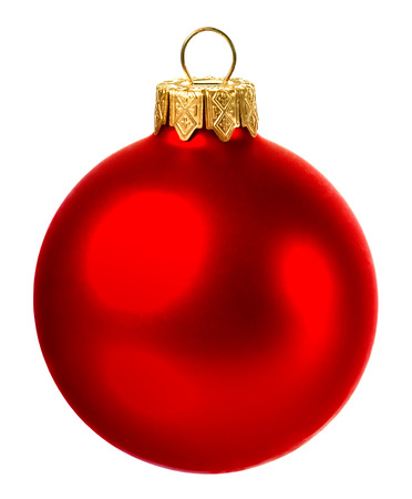 beautiful red christmas ball isolated on white background Stock Photo