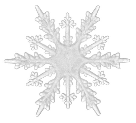 A beautiful white snowflake isolated on a white background. Element for design