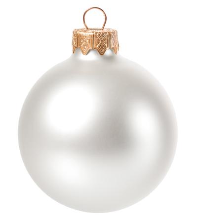 Schöne weiße Weihnachten Ball isoliert auf weißem Hintergrund Standard-Bild - 48054898