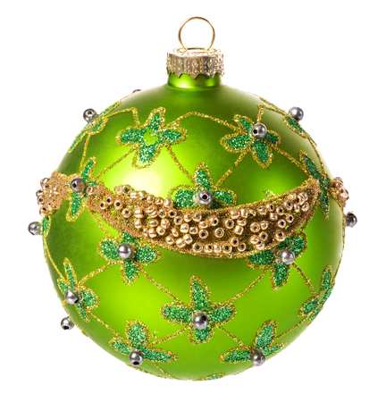 christmas balls: beautiful green christmas ball with a Christmas ornament isolated on white background