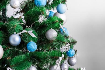mantel: Decorated Christmas tree. beautiful Christmas living room with Christmas tree Stock Photo