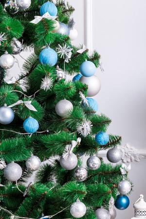 hearthside: Decorated Christmas tree. beautiful Christmas living room with Christmas tree Stock Photo